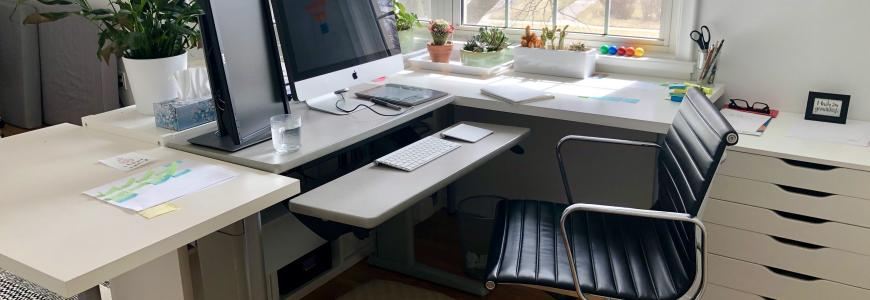 Patricia's home office includes an ergonomic desk and comfy chair