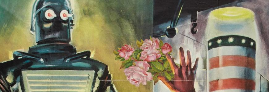 Theorizing the web banner graphic, depicting a robot receiving flowers.