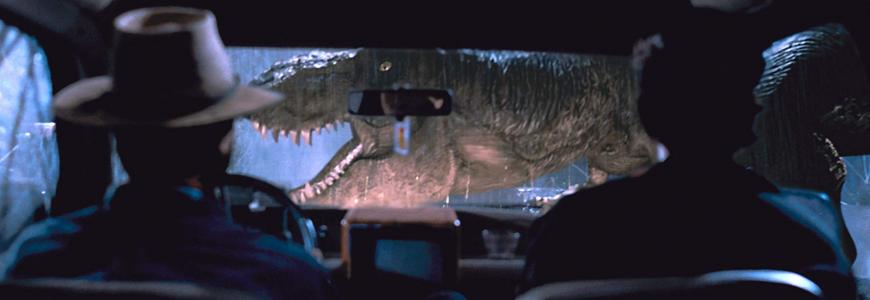 Shot from Jurassic Park movie when a Tyrannosaurus Rex is caught in the headlights of the heroes' jeep.